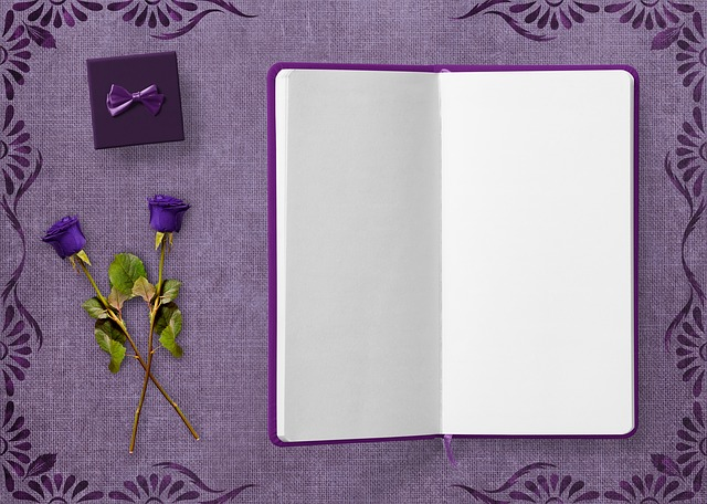 Diary, Gift, Roses, Frame, Flowers, Background, Purple