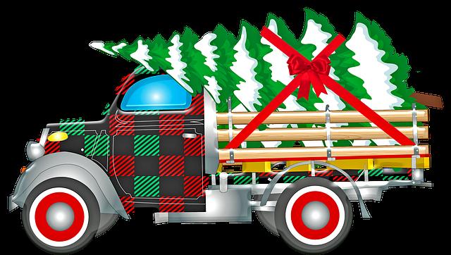 Christmas Retro Car, Santa Claus, Gifts, Christmas Tree