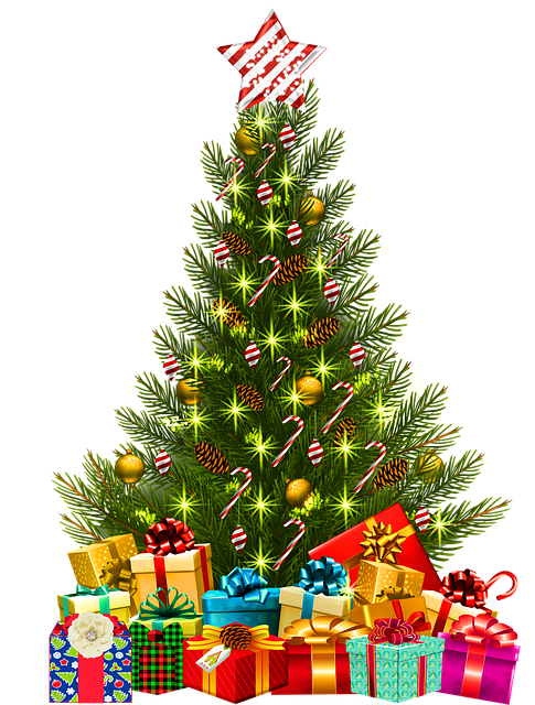 Christmas Tree With Lights, Gifts Under The Tee