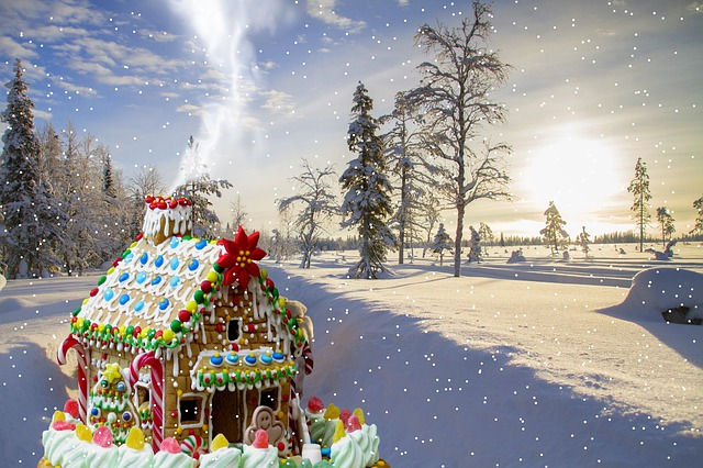 Christmas, Gingerbread House, Snow, Winter