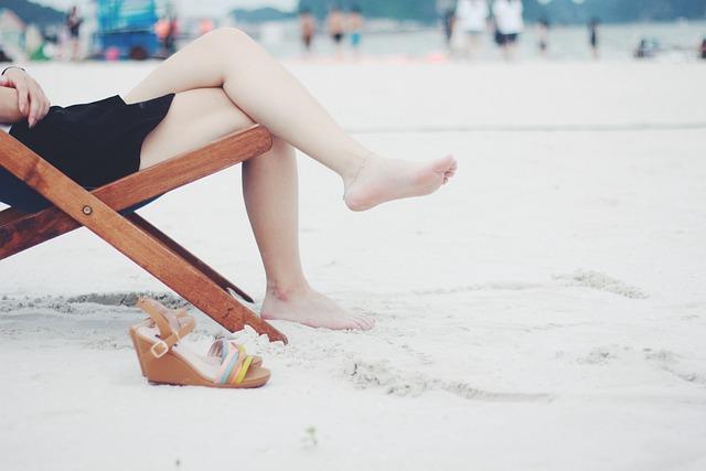 Beach, Beach Chair, Feet, Female, Barefoot, Girl, Lady