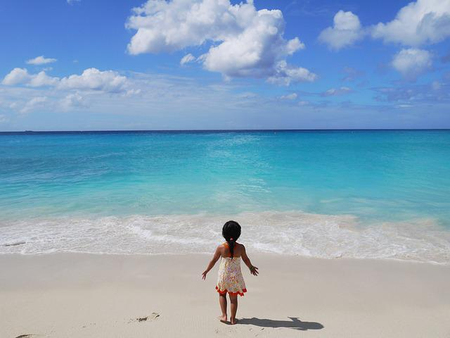 Sea, Beach, Girl, Sandy, Child, Blue Water, Summer
