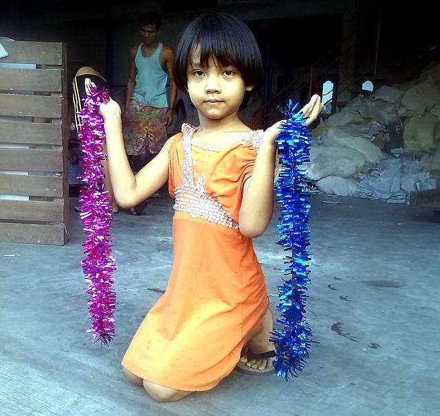 Girl, Child, Orange, Dress, Streamers, Purple, Pink