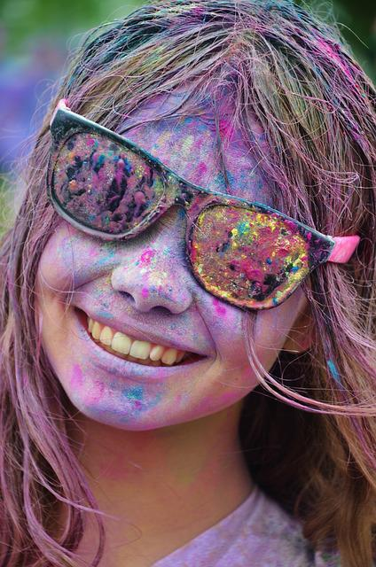 Girl, Colorful, Happy, Cool, Person, Laughing, Funny