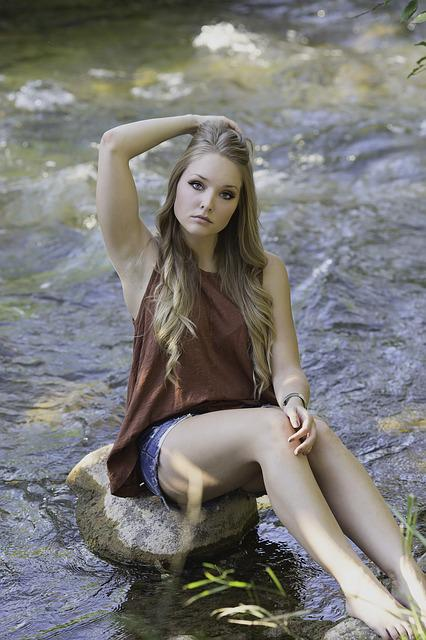 Creek, Country, Girl, Water, Nature, Landscape