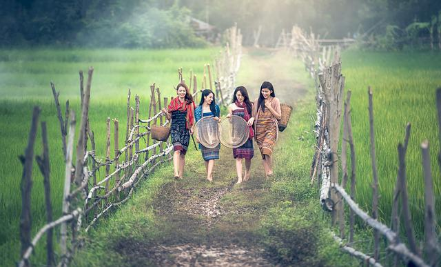 Girl, Countryside, Path, Working Women, Asia, Cambodia