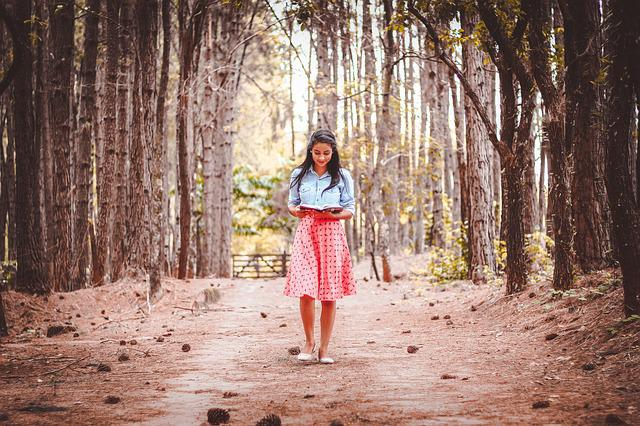 Beautiful, Dress, Girl, Outdoors, Person, Reading, Road