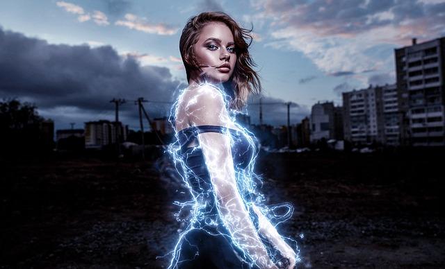 Superhero, Woman, Energy, Electric, Girl, Beautifull