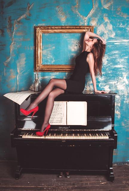 Girl, Piano, Grand Piano, Woman, Elegant, Sexy, Music