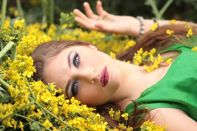 Girl, Flowers, Yellow, Beauty, Nature