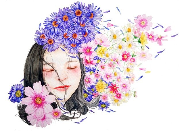 Watercolor, Portrait, Character, Girl, Woman, Flowers