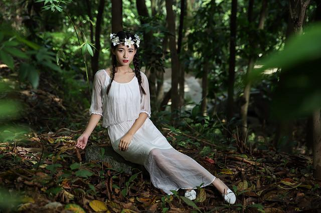 Girl, Woman, Lady, White Dress, Beauty, Forest, Flowers