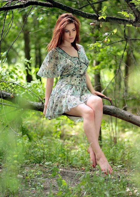 Girl, Forest, Casey, Residence, Dress, Green