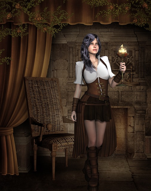 Girl, Hair, Steampunk, 3d, Medieval, Render, Pose