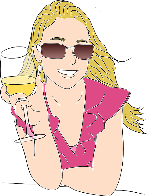 Girl, Blonde, Relaxed, Pretty, Happy, Drinking, Glasses