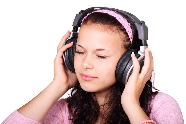 Cute, Female, Girl, Headphones, Isolated, Listen