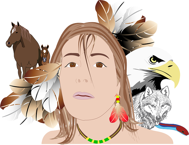 Indian, Girl, Person, Woman, Face, Eagle, Feathers