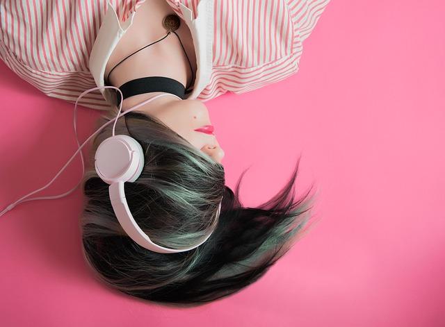 Girl, Music, Pink, Fashion, Listen, Headphones