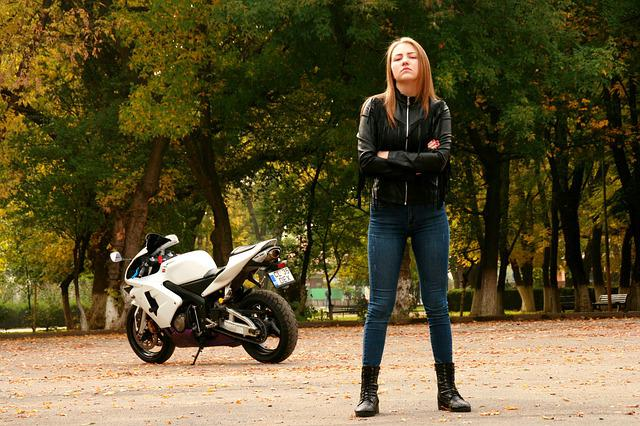 Girl, Motorcycle, Leather Jacket, Ride, Biker, Blonde