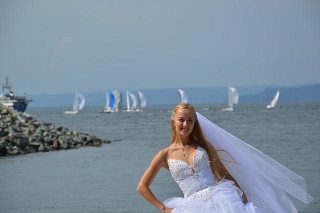 Bride, Sea, Yachts, Nature, Sky, Sail, Fata, Girl