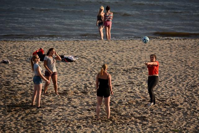 Sport, Volleyball, Girl, Nature, Baltic Sea, Beach