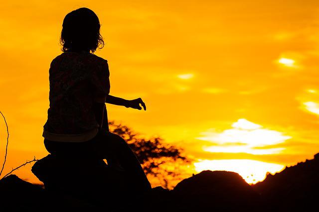 Silhouette, Girl, Orange, Sunset, Rocks, Africa, Kenya