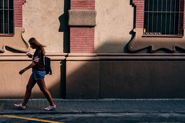 People, Woman, Girl, Texting, Phone, Walking, Street