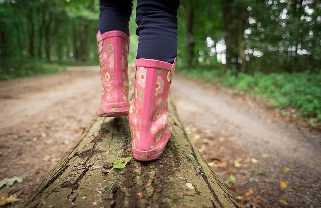 Girl, Walking, Forest, Path, Log, Tree, Young, Person