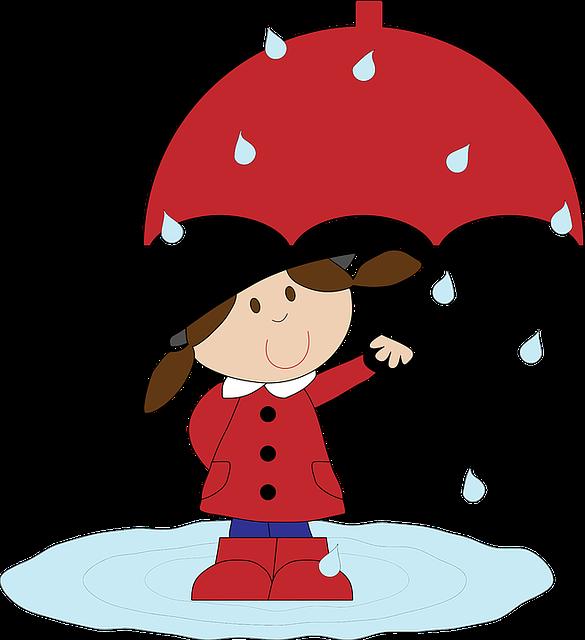 Cartoon, Girl, Girls, Puddle, Rain