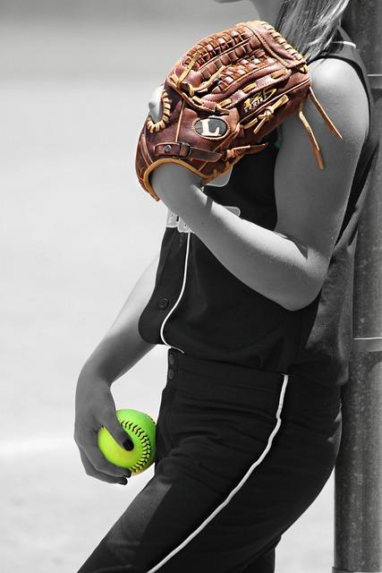 Girl, Player, Ball, Glove, Recreation, Game, Sports