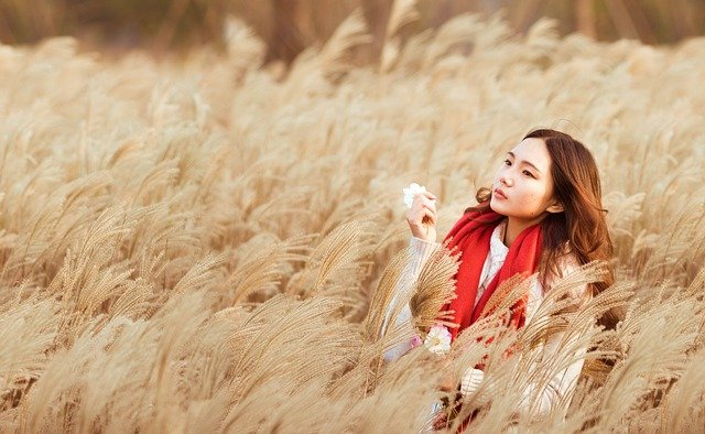 Girl, Asian, Chinese, Red Scarf, Woman, Grasses, Beauty