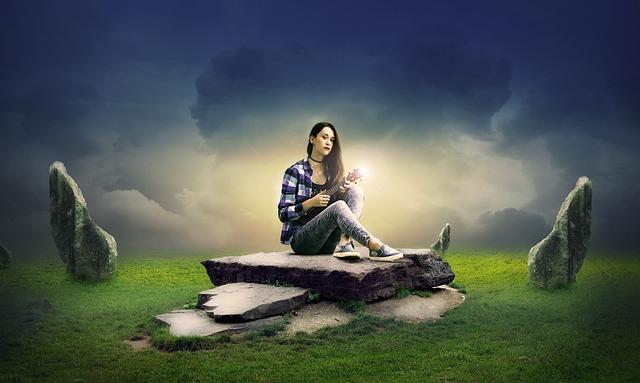 Sky, Grass, Girl, Guitar Girl, Sitting, Rock