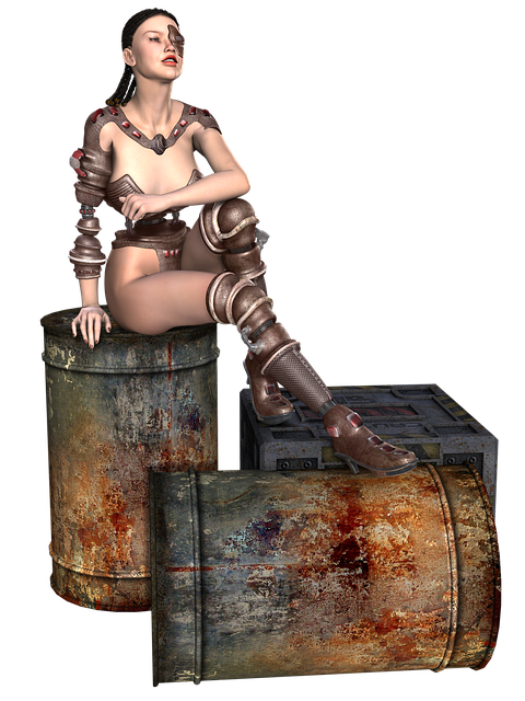 Girl, Sitting, Cyber, Barrel, Rust, Cyberpunk