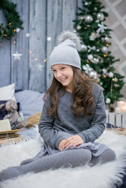 New Year's Eve, Girl, Smile, Christmas Background