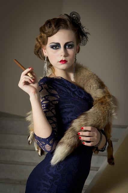 Girl, Cigar, Fur, Smoking, Model, Photoshoot, Cigars