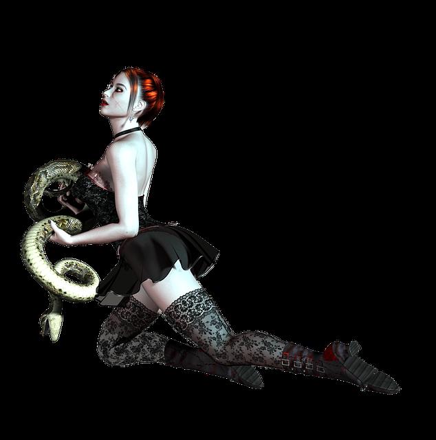 Girl, Kneeling, Snake, Red Hair, Dress, Pose, 3d, Png