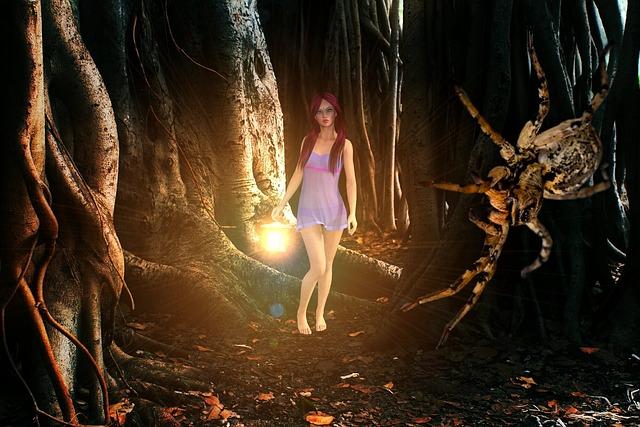 Nature, People, Girl, Spider, Forest, Light, Dark