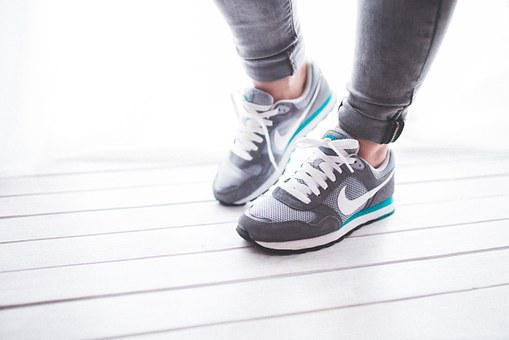 Shoes, Woman, Girl, Sport, Jogging, Runner, Nike, Grey