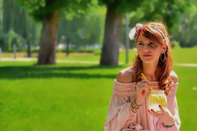Beautiful, Girl, Park, Lemonade, With Glass, Straw