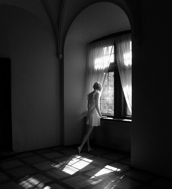 Black And White, Window, Girl, Light, The Darkness
