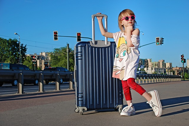 Girl, Street, Vacation, Suitcase, Main Street, Tourism