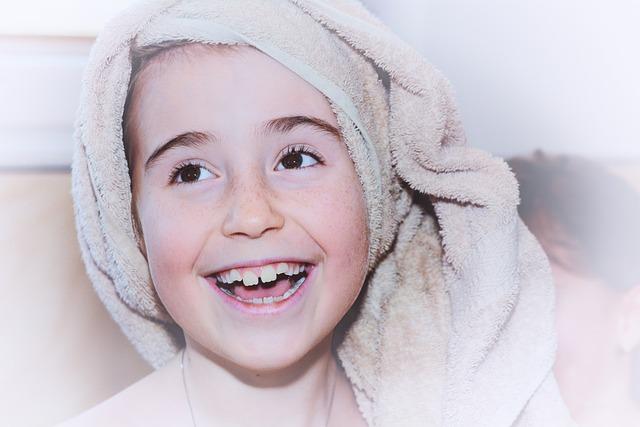 Child, Girl, Face, Towel, Laugh, Portrait, Close Up