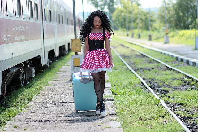 Girl, Train Station, Calling, Suitcase, Train, Peron