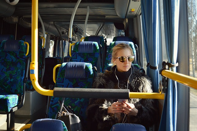 Bus, Girl, Earphones, Listening, Transport, Young