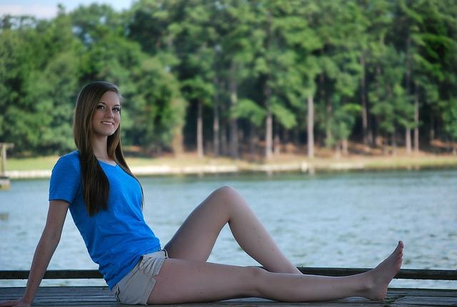 Girl, Sitting, Happy, Pretty, Dock, Water, Lake