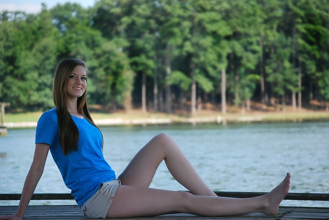 Girl, Sitting, Happy, Pretty, Dock, Water, Lake