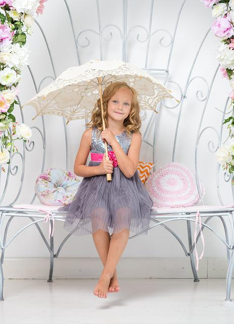 Girl, Umbrella, Bench, Sitting, Young, Room, White