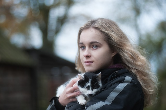 Autumn, Girl With Cat, Cat, Cat's Eyes, Woman, Look