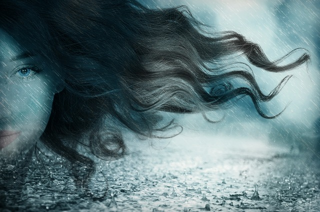 Woman, Face, Girl, Portrait, Forward, Hair, Wind, Rain