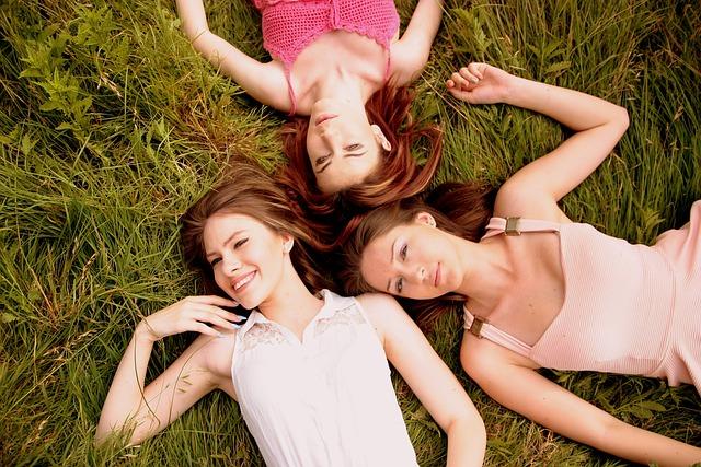 Girls, Buddy, Three, Dresses, Beauty, Nature